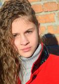 Teen girl with wavy hair — Stok fotoğraf