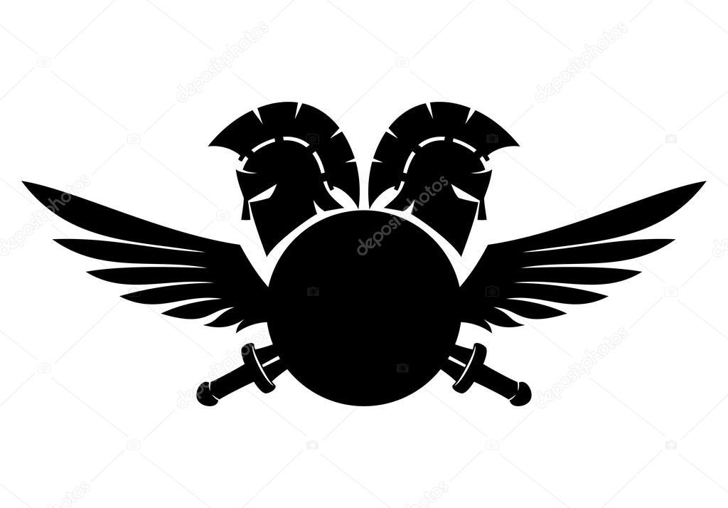 spartan helmet  shield  sword and wings stock vector michigan state spartan head logo spartan head logo clip art