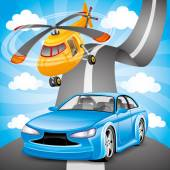 Blue car and orange helicopter. — Vettoriale Stock