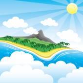 Tropical island. — Stock Vector