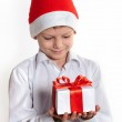 Happy boy with christmas gift box. — Stok fotoğraf #59023461