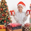 Happy boy with christmas gift box. — Stok fotoğraf #59112357