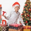 Happy boy with christmas gift box. — Stockfoto #59112379