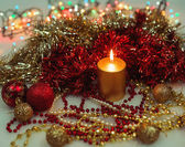 Festive decorations with candle. — Stock Photo