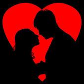 Silhouette loving couple — Stock Photo