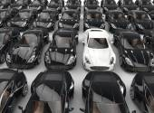 Stand out white car among many black cars — Stockfoto