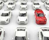 Red stands out car among many white cars — Stockfoto