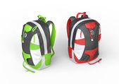 Green and red backpacks on white background — Stock Photo