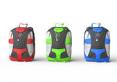 Red, green, and blue backpacks — Stock Photo