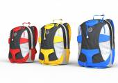 Red, yellow and blue backpacks on white background — Stock Photo