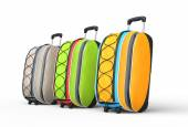 Travel baggage suitcases on white background - side view — Stock fotografie