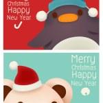 Adorable Penguin and Polar Bear card — Stock Vector #55066535