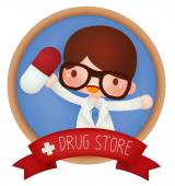 Adorable Drug Store banner  — Stockvektor