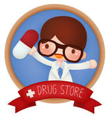 Adorable Drug Store banner — Vector de stock