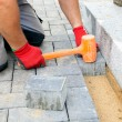 Bricklayer building up patio — Stock Photo #62672105