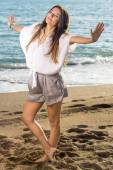 Woman Standing at Beach — Stock Photo