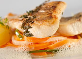 Fried pike perch with vegetables — Stock Photo