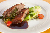Roasted duck breast and wine sauce — Stock Photo