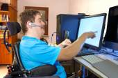 Man with spastic infantile cerebral palsy — Stock Photo