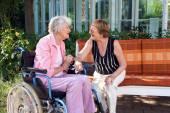 Elderly friends chatting — Stock Photo