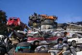 Scrap yard for obsolete motor cars — Stock Photo