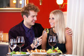 Lovers Date at Restaurant — Stock Photo