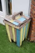 Close up colorful wood bin — Stock Photo