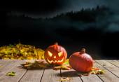 Halloween pumpkin smiling in the night — Stock Photo