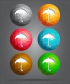 Set of icons umbrella — Stock Vector