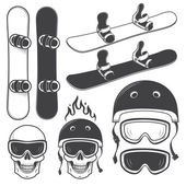Set of black and white snowbords and designed snowboarding eleme — Stock Vector
