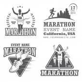 Set of running marathon and jogging emblems, labels and badges. — Stock Vector