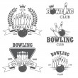 Set of black and white isolated bowling emblems, labels, badges — Stock Vector #57112139