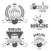 Set of black and white isolated bowling emblems, labels, badges  — Vector de stock