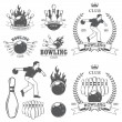Set of black and white isolated bowling emblems, labels, badges — Stock Vector #57398409