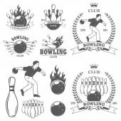 Set of black and white isolated bowling emblems, labels, badges  — Stock Vector