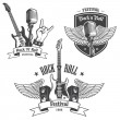 Постер, плакат: Set of rock and roll music emblems