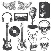 Set of rock and roll music elements. — Stock Vector