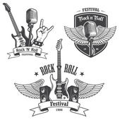 Set of rock and roll music emblems. — Stock Vector