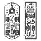 2 rock-'n-roll muziek flayer covers. — Stockvector