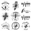 Second set of vintage barber shop emblems. — Stock Vector #61929555