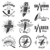 Second set of vintage barber shop emblems. — Stock Vector