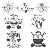 Set of vintage garden center emblems. — Stock Vector