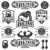 Set of monochrome fitnes emblems — Stock Vector