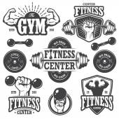 Second set of monochrome fitnes emblems — Stock Vector