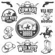 Set of vintage rodeo emblems and designed elements — Stock Vector #67877781