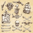 Set of vintage hand drawn pirates designed elements. — Stock Vector #70472089