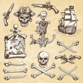 Set of vintage hand drawn pirates designed elements.  — Stock Vector