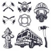 Set of designed firefighter elements — Stock Vector