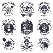 Set of vintage coal mining emblems — Stock Vector