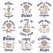 Set of vintage hand drawn pirates designed emblems, labels, logos — Stock Vector
